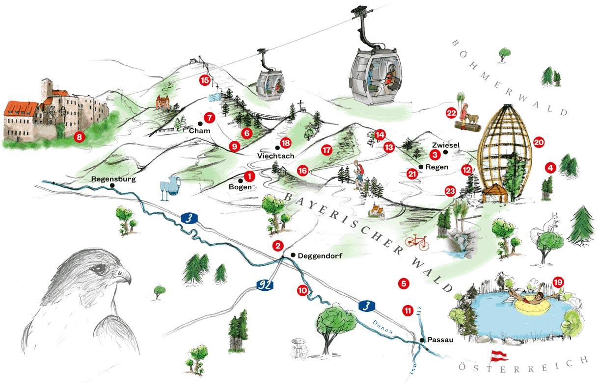 Karte mit Ausflugstipps im Bayerischen Wald