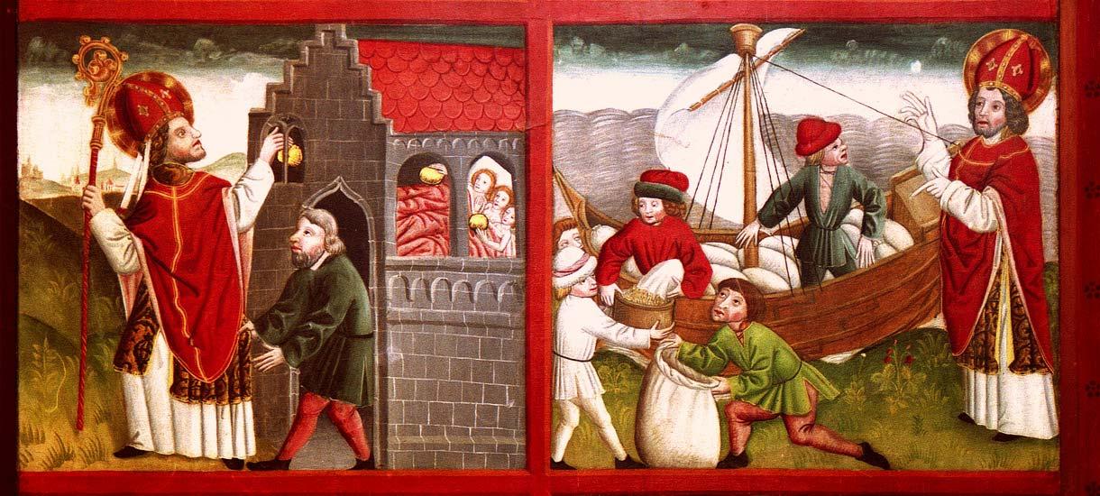 Heiliger Nikolaus beschenkt arme Mädchen mit goldenen Äpfeln und mehrt die Ladung eines Schiffs