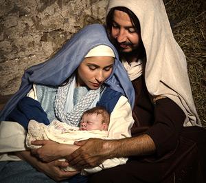 Lebende Krippe – Maria, Josef und das Jesuskind