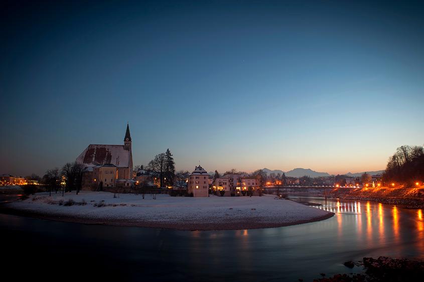 Oberndorf in der Abenddämmerung