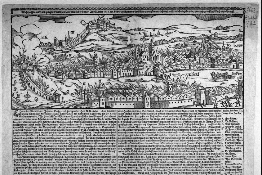 Eine alte Zeichnung des Stadtbrandes in Passau 1662