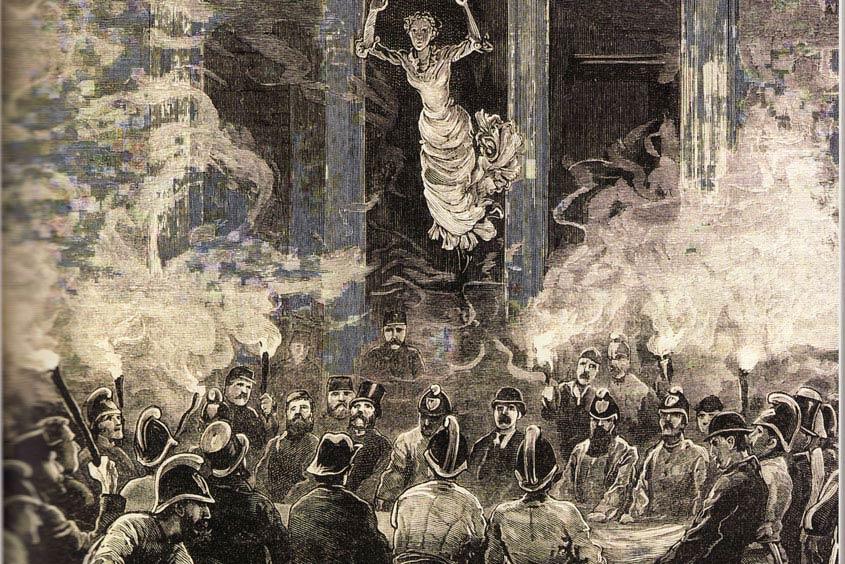 Ein altes Gemälde des Ringbrandes in Wien 1881