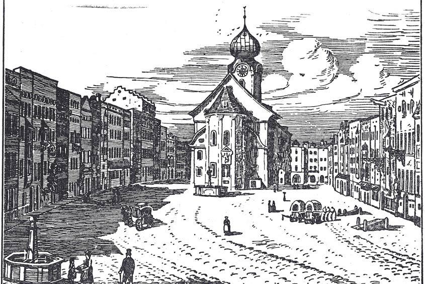 Eine alte Zeichnung des Stadtplatzes in Traunstein vor dem großen Stadtbrand 1851