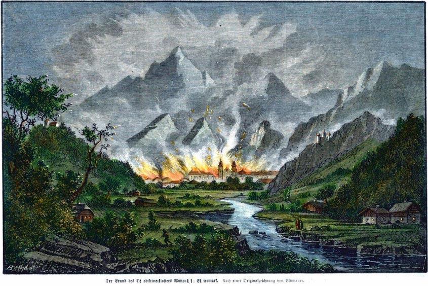 Zeichnung des Stiftbrandes Admont