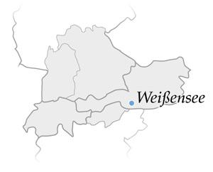 Eine Karte der Alpenländer mit Position des Weißensees