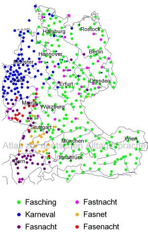 Atlas zur deutschen Alltagssprache: Karte von Deutschland, Österreich und der Schweiz