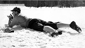 Mann beim Biathlon-Schießen
