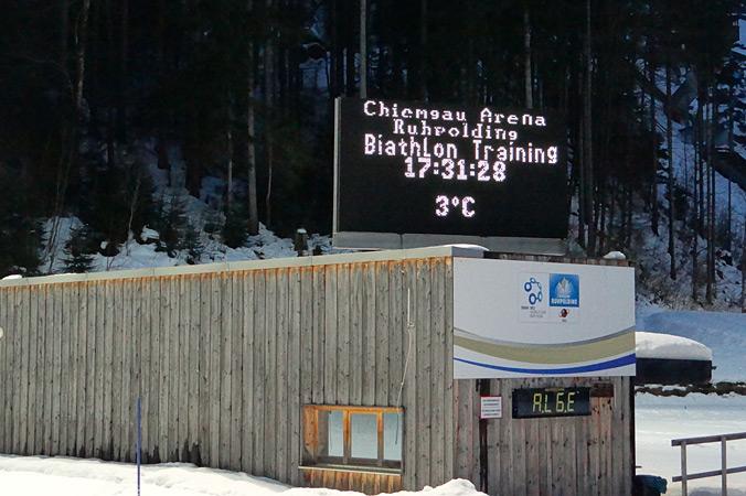 Wetteranzeige im Biathloncamp Ruhpolding