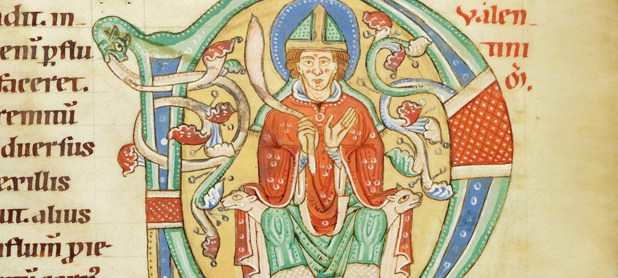 Der heilige Valentin in einer mittelalterlichen Handschrift