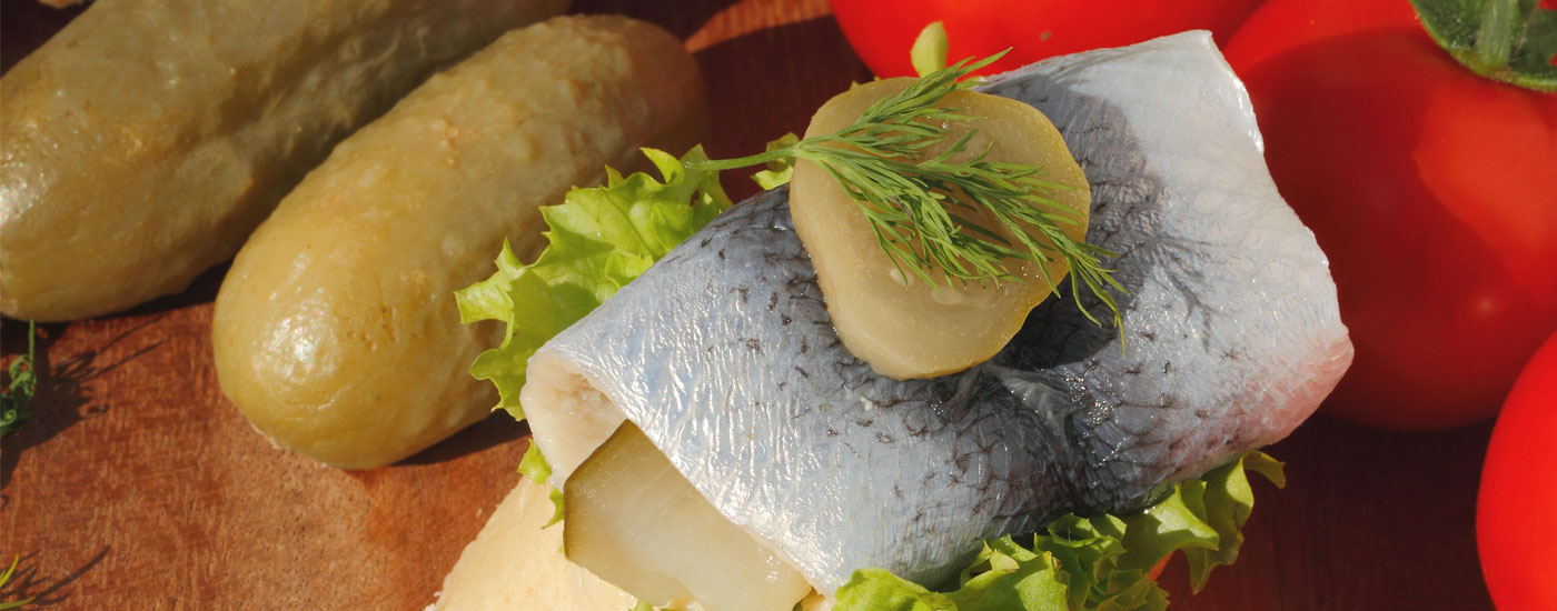 Katerfrühstück: Rollmops mit Essiggurken