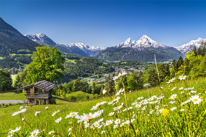 Pollenflug: Alpenlandschaft mit Alm