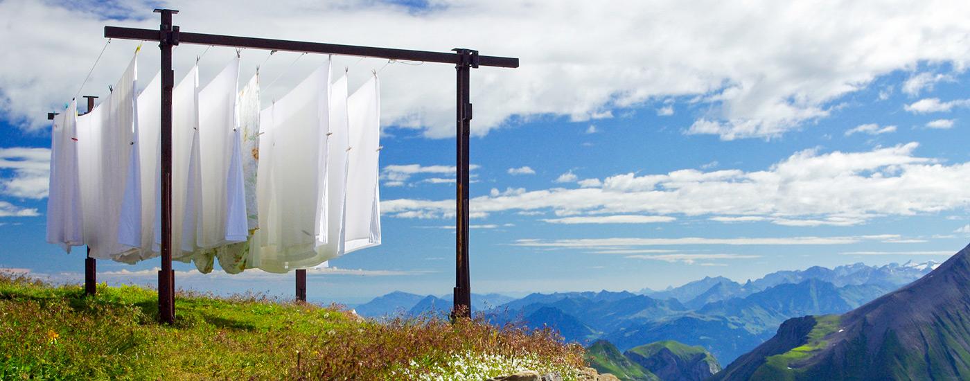 Kalorien verbrennen – frische Wäsche auf dem Berg
