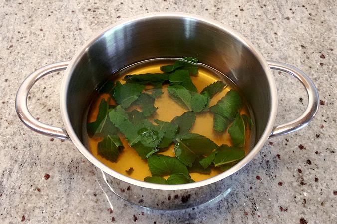 Duschgel selber machen – Minz-Tee kochen