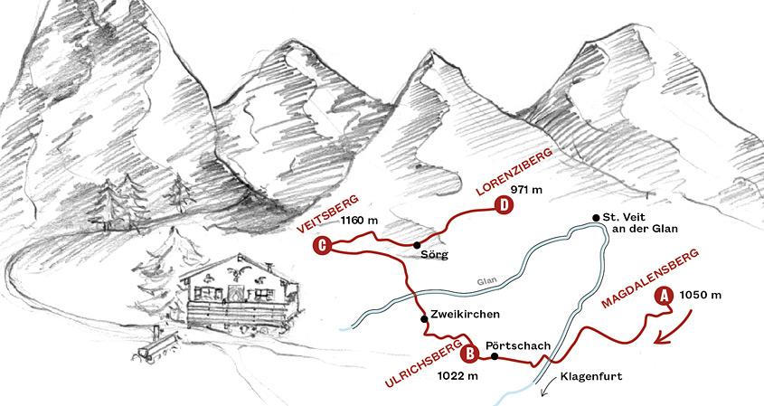 Vierbergelauf – eingezeichnete Route auf einer Karte