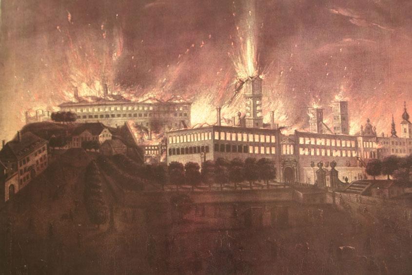Ein altes Gemälde des Stadtbrandes in Linz