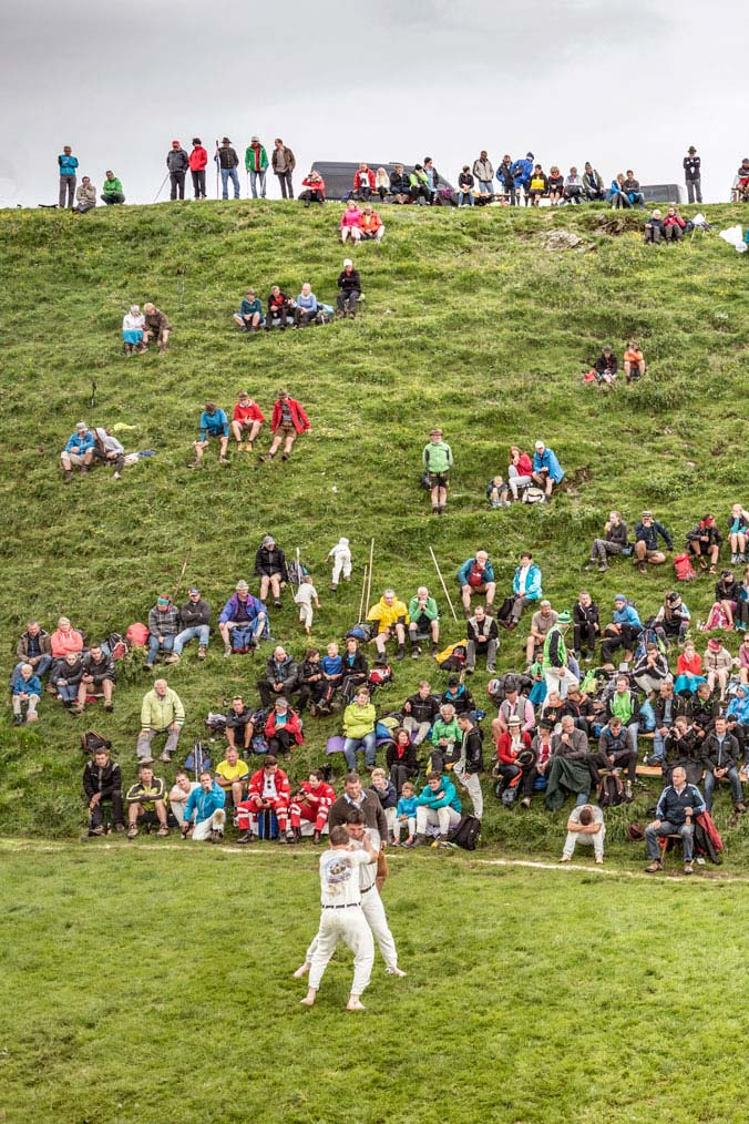 Hundstao-Ranggeln – Zuschauer sitzen im Gras