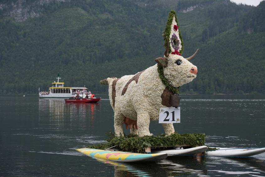 Narzissenfest Bad Aussee –  Bootskorso auf dem Grundlsee mit Kuhfigur