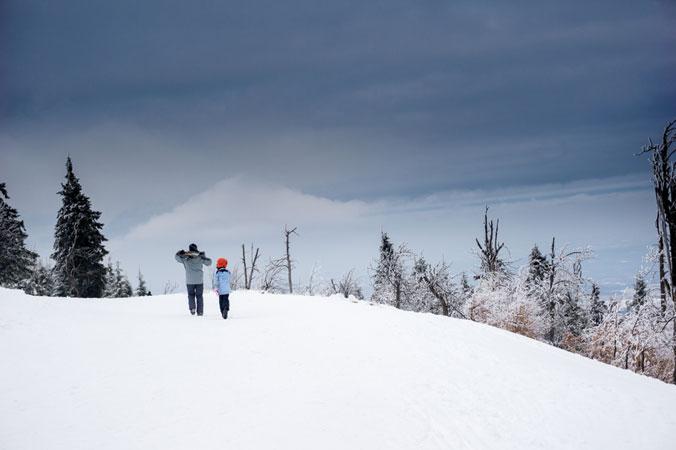 Warten - Vater und Sohn spazieren durch eine Schneelandschaft