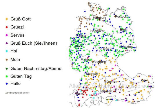 Eine Karte verschiedener Regionen, in und um Deutschland, welche aufzeigt wie man sich wo begrüst.