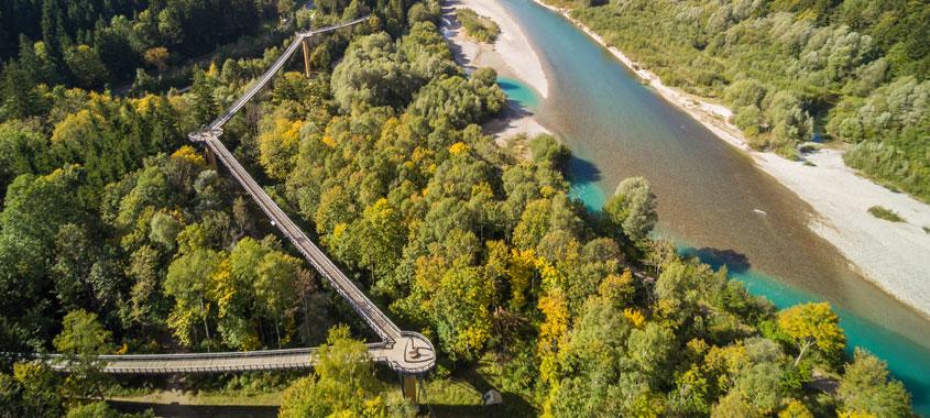 Der Baumwipfelpfad in Füssen-Ziegelwies aus der Vogelperspektive